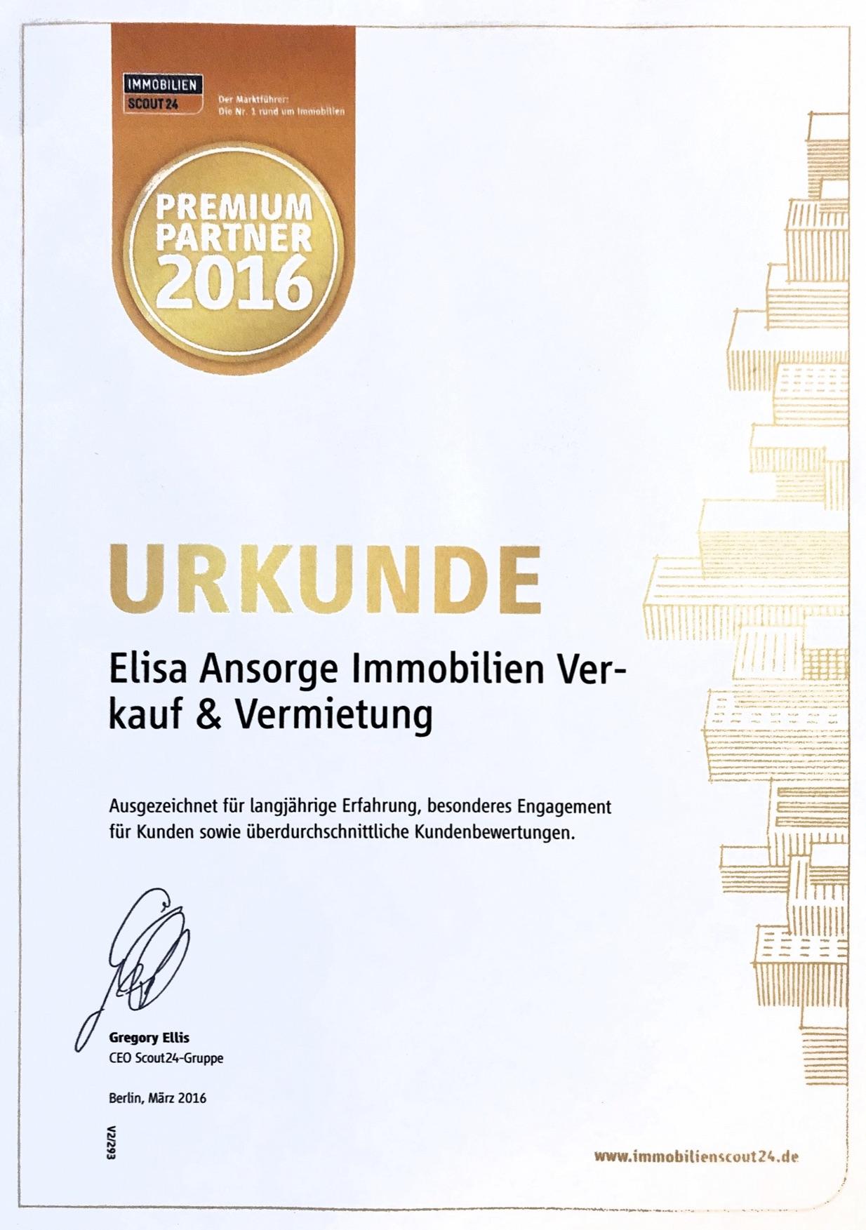 immobilienscout Premium Partner Urkunde